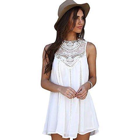 Susenstone Vestido de Cóctel del Cordón de las Señoras de la Gasa de las Mujeres sin Mangas de la Playa de la Camiseta (S)