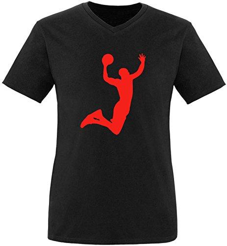 EZYshirt® Basketball | Slam Dunk Herren V-Neck T-Shirt Schwarz/Rot