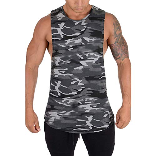 UFACE Camouflage Tank Top Herren Muskelshirt Sport Outdoor Gym Fitness & Bodybuilding Muscle Shirt Tanktop Unterhemd Achselshirt Casual Vest Shirts Trainingswest Männer Sommer Tops
