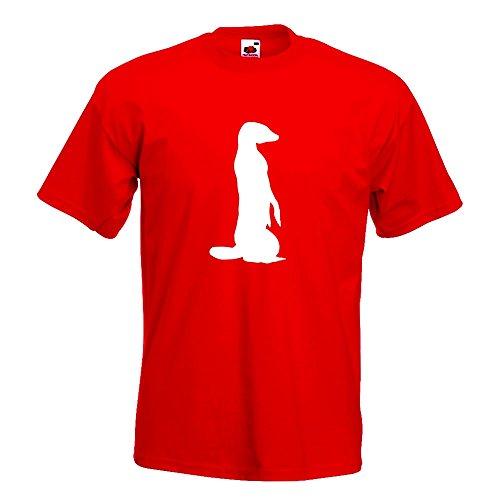 KIWISTAR - Erdmännchen Silhouette T-Shirt in 15 verschiedenen Farben - Herren Funshirt bedruckt Design Sprüche Spruch Motive Oberteil Baumwolle Print Größe S M L XL XXL Rot