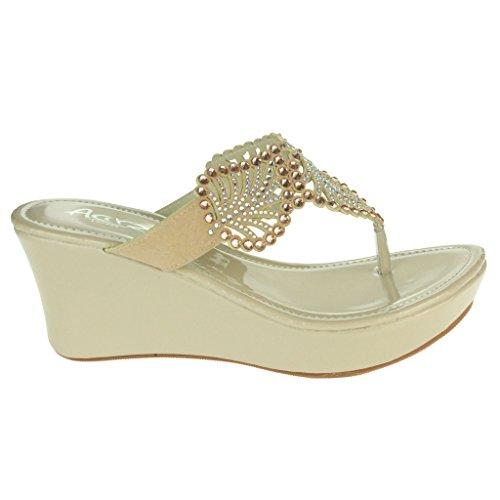 Frau Damen Diamant Blatt Detail Zehenpfosten Abend Casual Komfort Schlüpfen Niedrig Keilabsatz Sandalen Schuhe Größe Aprikose
