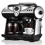 Macchina da caffè completamente automatica ad alta tensione con pompa professionale, macchina da caffè espresso con 20 bar in nero, macchina da caffè con regolatore di temperatura e funzione a vapore, schiuma di latte, caffettiera con grande capacità per 1 – 12 tazze (1,5 L), anti-goccia.