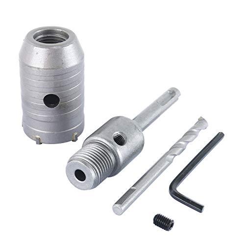 YaeTek SDS Plus Schaft Hartmetall Spitze Lochsägenbohrer + Schaftschneider Wandbohrer Ziegelstein Beton Zement mit Schlüssel (45 mm + 110 mm)
