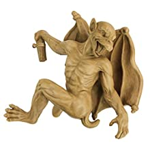 Design Toscano Gaston the Gothic Gargoyle Climber Hanging Statue, Medium, 33 cm, Polyresin, Gothic Stone