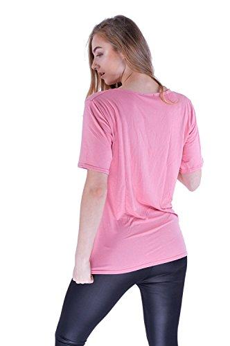 Damen Kurzarm Casual beunruhigt zerrissenen Look T-Shirt Top Rosa