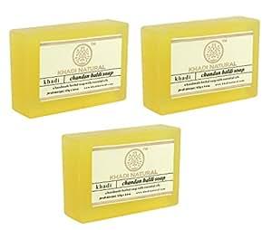 Khadi Natural Chandan Haldi Handmade Soap, 125g (Pack of 3)