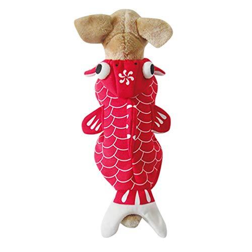 Jitong Warm Hundemantel Hoodie für Haustier, Halloween Fisch Kostüm, Kleine Hunde Verkleidung Party Wear (Rot, Größe XS)