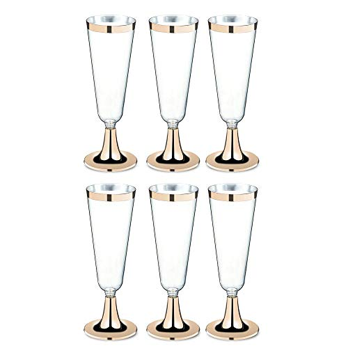 Foonee champagne oro bordato in plastica usa e getta in plastica 6pcs classicware glass wedding toasting flutes party cocktail tazze (oro bordato) gold