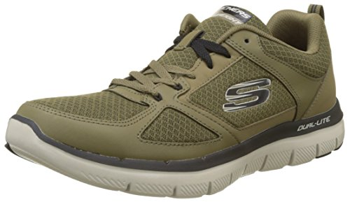 Skechers Herren Flex Advantage 2.0 - Lindman Sneaker, Grün (Olive/Black), 39.5 EU (Skechers Reißverschluss Schuhe)