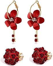 Sukkhi Pretty Gold Plated Rose Dangle Earring Combo For Women (SKR58124)