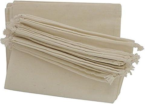 100% mousseline de coton Cordon de serrage Sacs de 12pour le rangement Pantry cadeaux, Coton, blanc, 10 x 15