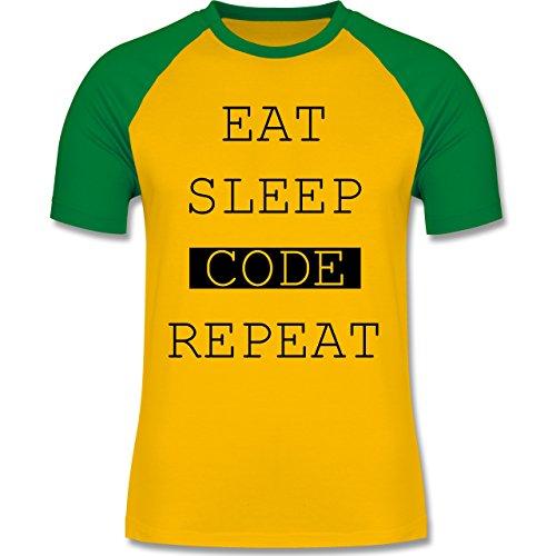 Programmierer - Eat-Sleep-Code-Repeat - zweifarbiges Baseballshirt für Männer Gelb/Grün