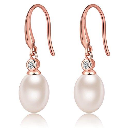 Damen 925 Sterling Silber natürliche Süßwasser Perle Ohrringe-Angeln -