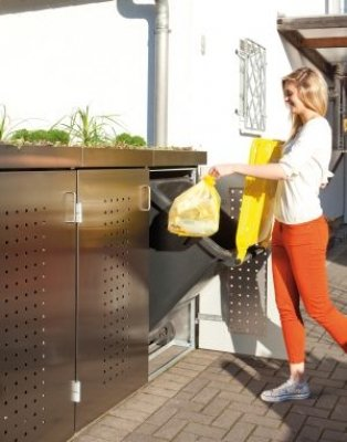 BINTO Mülltonnenbox Edelstahl, Müllbox System 12 - 2