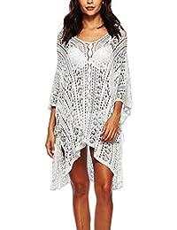 Hoverwin - Poncho de Playa para Mujer, de Punto, con Cuello en V Blanco