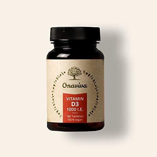Vitamin D3 Vegan | hochdosiert 1000 IE 25 µg | 180 Tabletten | Reines D3 Cholecalciferol | Geprüfte Qualität aus Deutschland