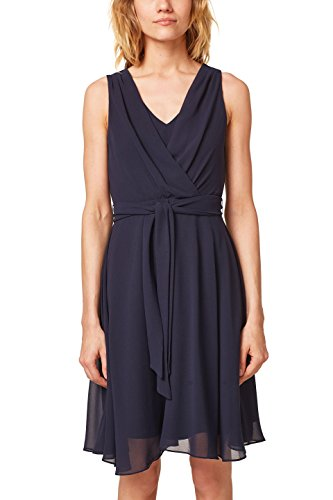 ESPRIT Collection Damen Kleid 058EO1E027, Blau (Navy 400), 40
