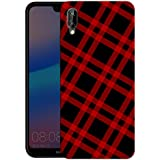 """iShoppe Black and Red Check ArtPrinted Designer Mobile Back Cover for""""Huawei P20 Lite"""""""