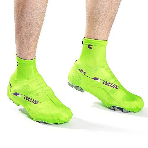 LBAFS Radfahren Überschuhe, Outdoor Sports Fahrrad Überschuhe Winddicht Wasserdichte Schuhe Abdeckungen für Männer Frauen Winter Regen Radfahren Zyklus Mountain Road Toe Cover,Green-XL
