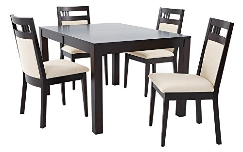 Afydecor Four Seater Dining Set with Upholstechair Backs and a Sturdy Table - Brown