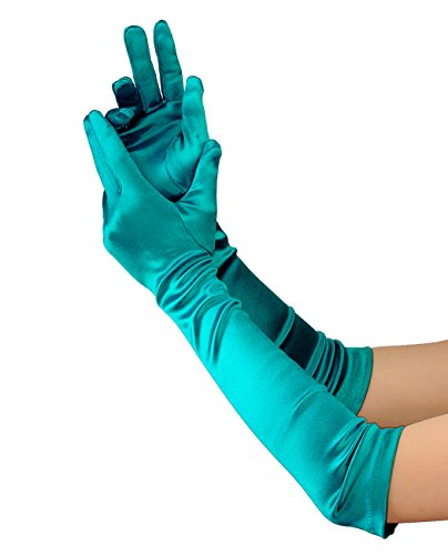 NYfashion101 Elegante Satin Handschuhe für Damen Ellbogenlänge 12BL - Aquamarin (Satin Handschuhe)