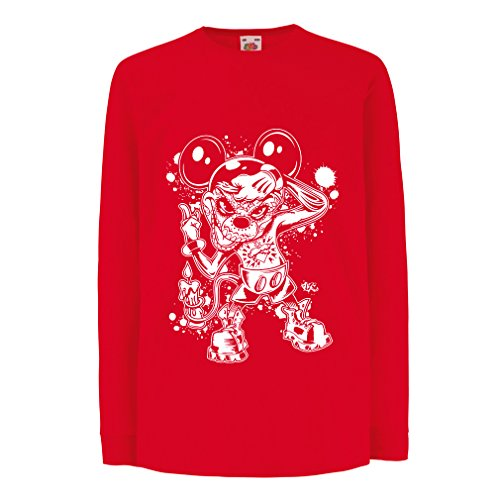 (lepni.me Kinder-T-Shirt mit Langen Ärmeln Eine Maus mit Einem tollen Halloween-Party-Kostüm (3-4 Years Rot Mehrfarben))