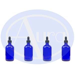 LOT de 4 - Flacons en VERRE BLEU de 100 ml avec pipettes en VERRE. Utilisation pour les huiles essentielles / et en aromathérapie