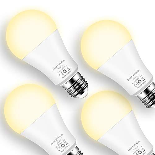 Smart LED-Lampe E27 WLAN Glühbirnen, 13W Wifi Glühbirne Birne Dimmbar über App, warmweiß 2700K Smart Lampe kompatibel mit Amazon Alexa, Google Home,Kein Hub Erforderlich (4er Pack)