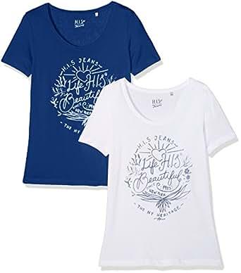 H.I.S Jeans Damen T-Shirt Doppelpack 2er Pack, Blau (Estate Blue 4480), X-Small