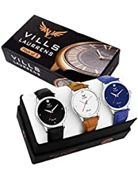 Vills Laurrens VL-1141-1142-1143 Pack of 3 Smart and Handsome Combo of Analog Watches for Men and Boys