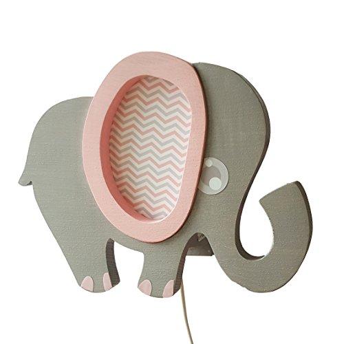 Clevere Kids Kinder Wandlampe Alle Meine Tiere Holz Handarbeit A++ (Elefant rosa)
