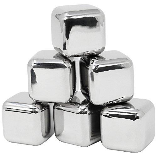 COM-FOUR® 7-teiliges Edelstahl Eiswürfel Set, Whisky Steine, Kühlsteine aus Edelstahl mit Stoffbeutel