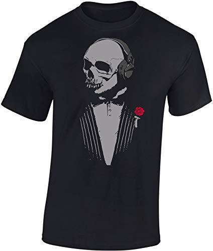 Totenkopf T-Shirt: Skull mit Kopfhörer - DJ Tshirt - Der Pate Schädel - Techno - Rock Band Musik Shirt für Herren - Geschenk für Musik (L)