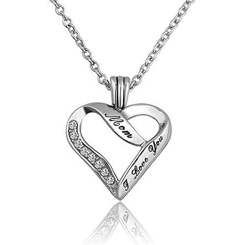 Poetic Charms 925 Sterling Silber Damen Halskette Herz Zirkonia Schmuck kette Anhänger Geschenke Freundin Gravur Ich liebe Dich, Mami - Mami-box