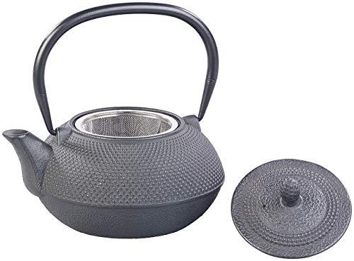 Rosenstein & Söhne Teekanne japanisch: Asiatische Teekanne aus Gusseisen mit Edelstahl-Sieb, 0,9 l, schwarz (Chinesische Teekanne)