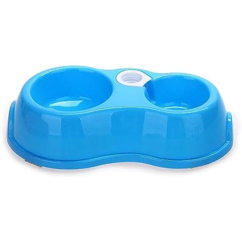 2 in 1 Ciotola Mangiatoia Abbeveratoio Plastico Blu Antiscivolo per Cani Gatti