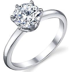 Damen Sterling Silber 925 Verlobungsring, Ehering Mit 1.25 Karat Runde Zirkonia Bequemlichkeit Passen,Größe 54