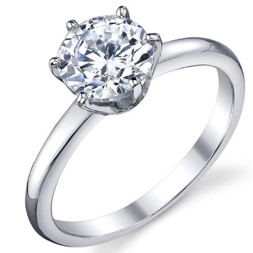 Ultimate Metals® anello di fidanzamento in argento 925 con 1.25 carati di pietra di zirconio a taglio rotondo - fede nuziale in argento con pietra di zirconio da donna