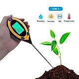 4-in-1-Bodentester für Gartenbauernhöfe, Lichtintensität Boden Feuchtigkeitsgehalt Temperatur PH Großes LCD-Display mit Hintergrundbeleuchtung
