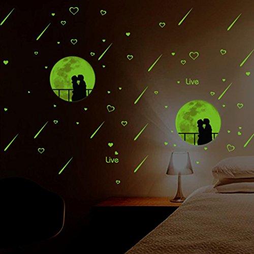 """Preisvergleich Produktbild DOLDOA Wandtattoo,Wandsticker Leuchtaufkleber für Kinderzimmer und Schlafzimmer (252 pcs(0.8x0.8"""";0.6x0.6"""",0.4x 0.4"""";1 moon 3.2 x 3, Grün - Runde Punkt) (30*35CM, Meteor)"""