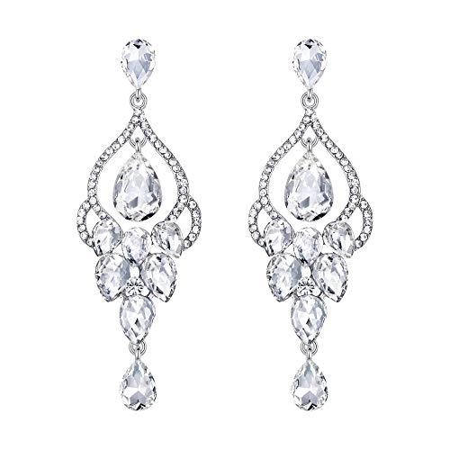 EVER FAITH® Silber-Ton Braut Tropfen Vase Form klar österreichischen Kristall Dangle Ohrringe N02527-1