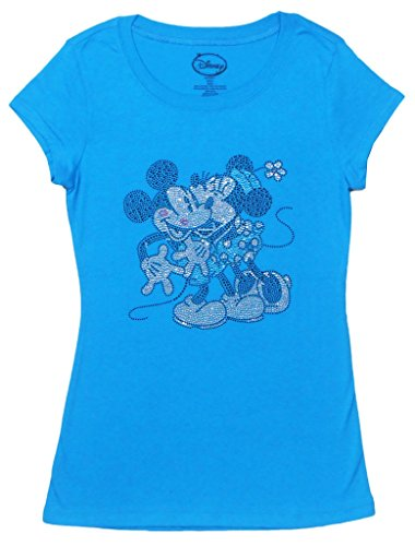 Exklusive Juniors Mickey & Minnie Smooching Strass T-Shirt T¨¹rkis Klein
