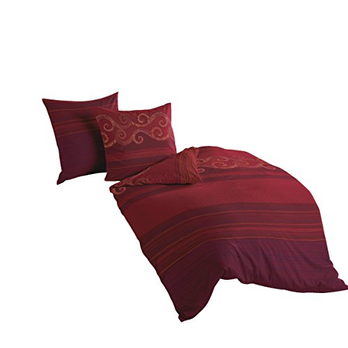 Bierbaum Bettwäsche 4429, Mako-Satin, Made in Germany, rot 04, 200x200 + 2x 80x80 cm, für das Doppelbett