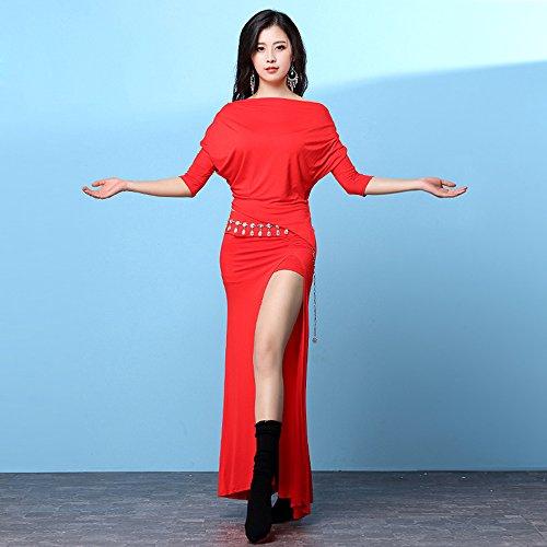 Indischen Kostüm Lady - Xueyanwei Professional Lady Bauchtanz Kostüme Indischen Tanzkleid Übung Kleidung Tanzwettbewerb Leistung Kleid,M