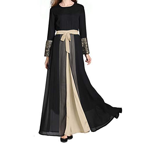 YUAN Damenkleider, Frauen Muslim Arabischer Islamischer Mittlerer Osten Ethnische Solide Print Langarm ()