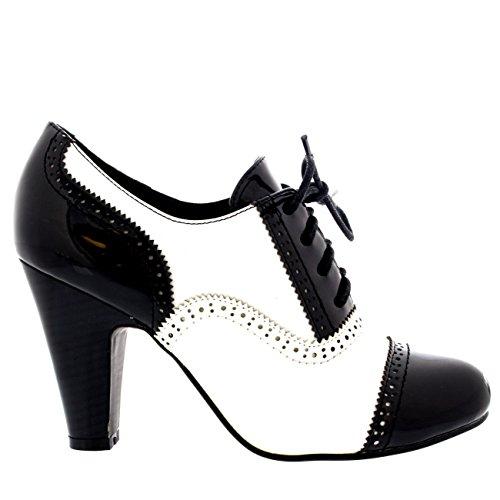 Donna Tacco Medio Serata Lavoro Mary Jane Formale Stivaletto Scarpe Nero/Bianco Patent