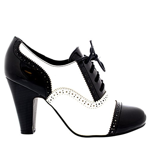 Femmes Bloc Mi Talon Chaussez Soir Travail Mary Jane Bottines Chaussure Noir/Blanc Brevet