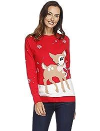 ed86954aff0ef Tiffley Time Pull Moche de Noël en Tricot Imprimé de Flocon de Neige et  Wapiti Jumper Ugly Christmas Sweater pour…
