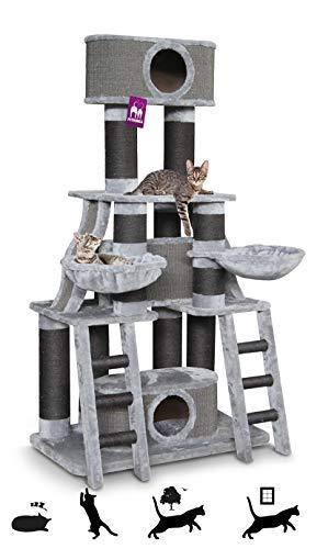 Petrebels Kratzbaum Skyline 185 Soft Grey, Extra großer Kratzbaum XXL speziell für mehrere Katzen auch für Maine Coon, Norwegische Waldkatzen oder Ragdolls, 185 cm, Farbe Grau, Hellgrau