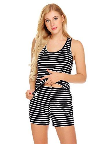 Unibelle Nachthemd Damen Schlafanzüge Sommer Pyjama Sexy Kurze Nachtwäsche Negligee Wäsche Set Shorty (Pyjama Top Tank)
